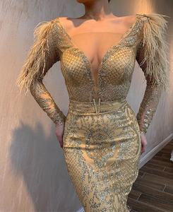 Wedding Vintage Glitter Lace Long Sleeve Mermaid Evening Dresses Party Wear Gowns with Feathers