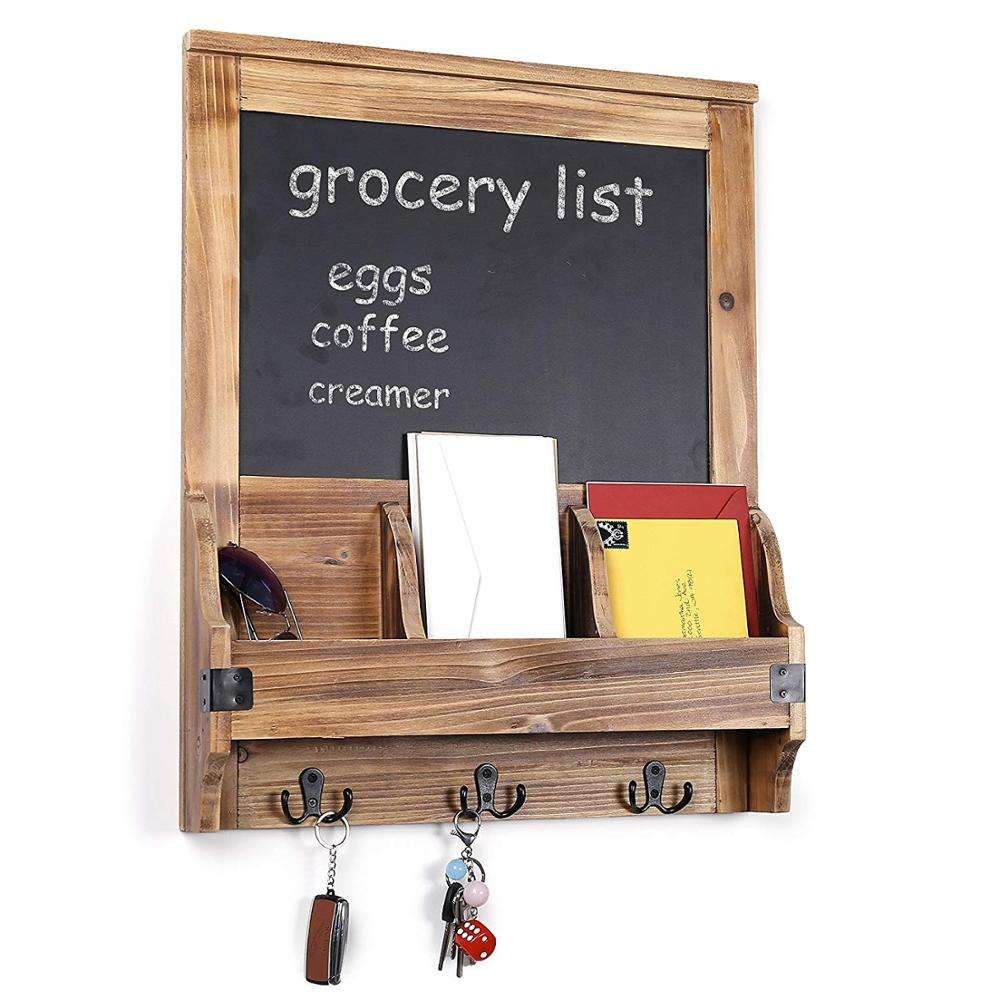 Rustic Burnt Wood Wall Mounted Entryway Mail Organizer with Chalkboard Sign & Key Hooks