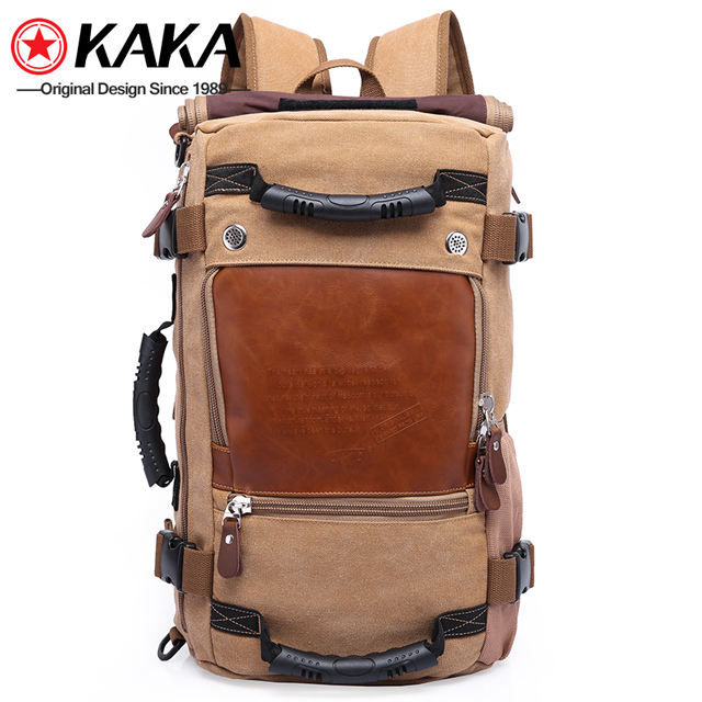 2019 kaka wholesale travelling vintage fashion outdoor mens sport laptop bag canvas hiking travel backpack