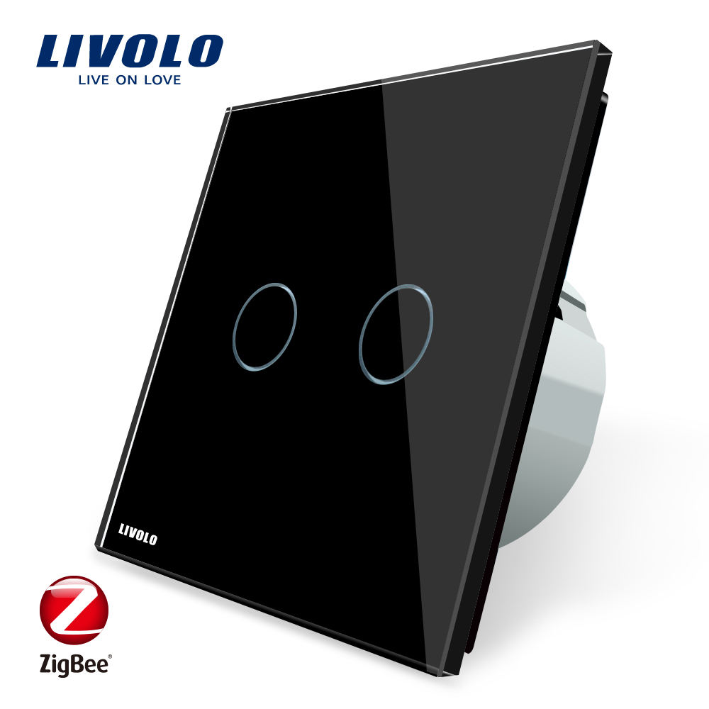 Livolo VL-C702Z-12 New Arrival Google Home Voice Control Zigbee Wall Switches Two Gang Light Interrupter Touch Switch
