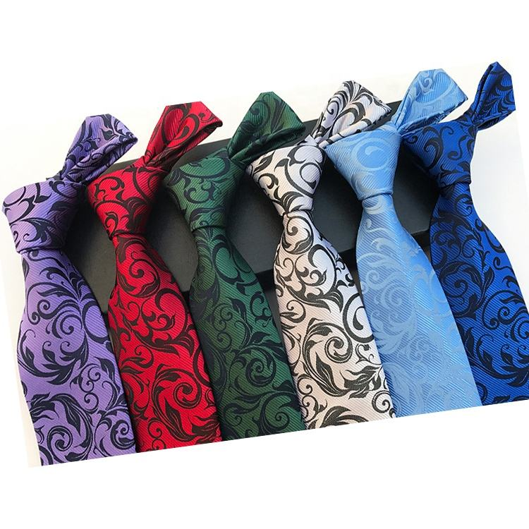 Hot Sale Dark Color Floral Floret Flower Necktie And Cheap Popular Polyester Knitted Mens Ties