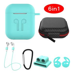 Amazon Hot 6 in 1 Apple AirPods Case Cover Silicone AirPods Case with Accessories Set in Travel Storage Bag