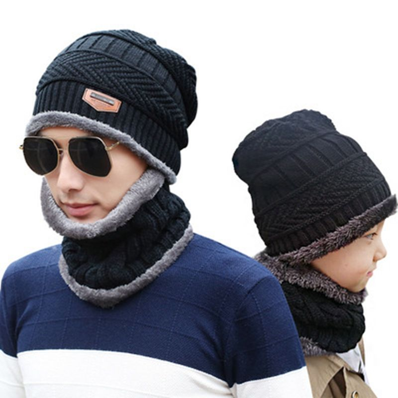 men warm winter hat with Scarf Wool Lining Thick Warm Knit beanies Winter Beanie Caps bonnet For men