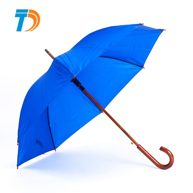 High Quality Semi-automatic Wooden Handle Walk Stick Golf Straight Umbrella