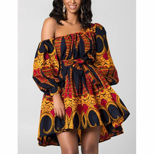 Wholesale Sexy One Shoulder Mini Summer Dresses Women African Print Fashion Summer Dress
