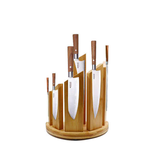 wooden holder with 6pcs knives wooden knife stand