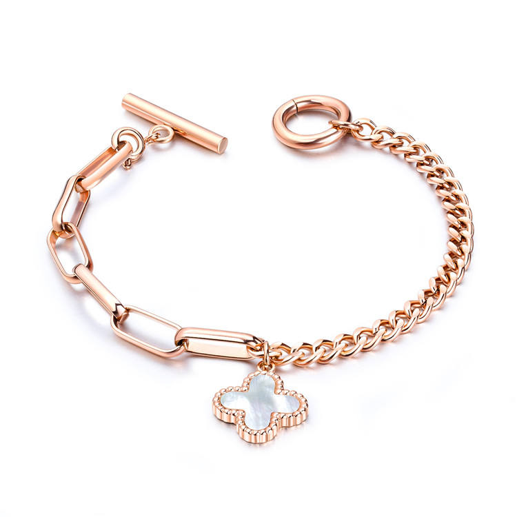 Top Selling Stainless Steel Women Link Chain Four Leaf Clover Charm Bracelet