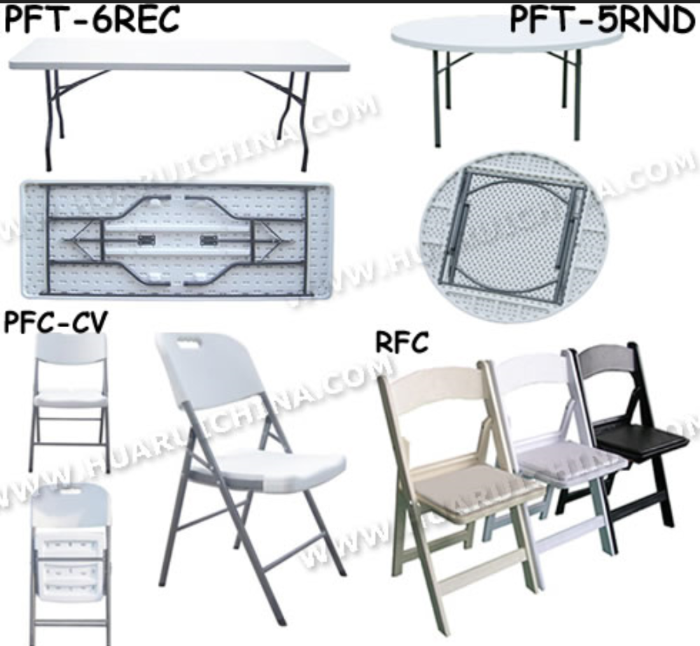 White plastic folding events tables for banquet