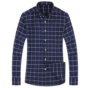100% Cotton Checked Business Round Bottom Long Sleeve Man Plus Size Shirt Processing Service