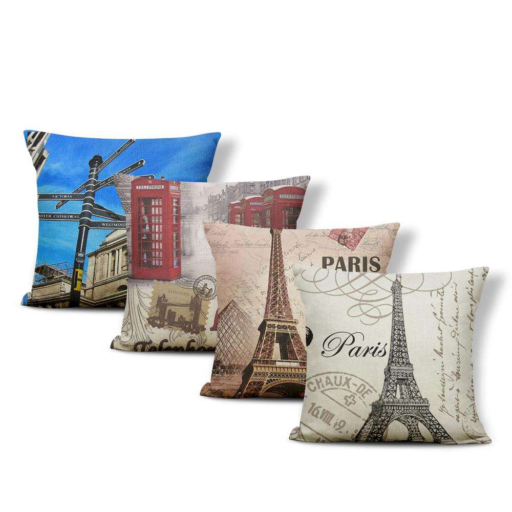 Square Pillow Case London Eiffel Tower Print Fashion Cushion Covers Home Decorative