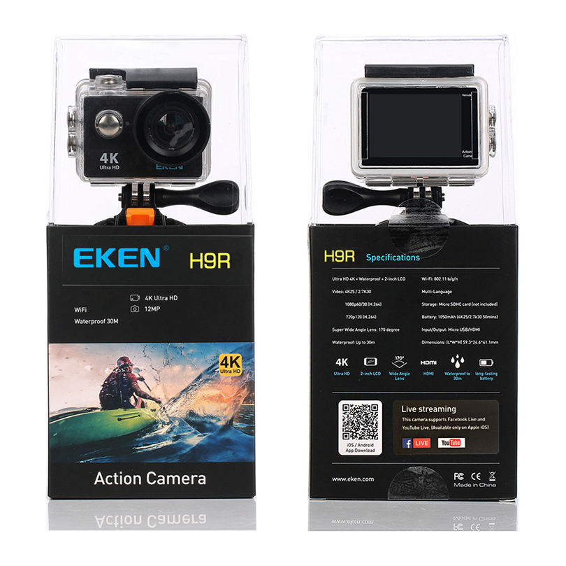 Original EKEN Waterproof 4k Video Camera Wifi 12MP 170 Degree Wide Angle EKEN H9R Action Camera