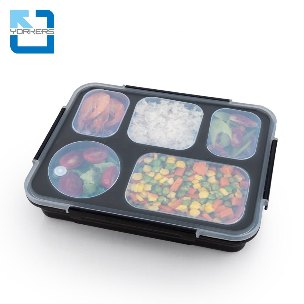Custom ECO Office Adult Kids Insulated Meal Prep Packing Leakproof Metal Bento Boxes Food Compartment Stainless Steel Lunch Box