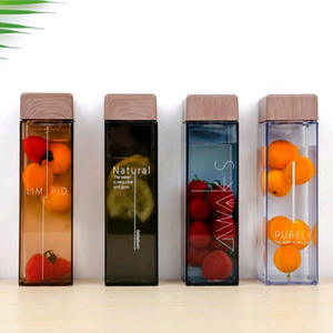 Tritan Wide Mouth Square Shaped Reusable Amber Clear Square Plastic Water Bottles with Custom Logo