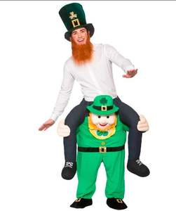 St. Patrick's Day Green Elves piggyback carry me mascot costume Carnival ride on fancy dress for adult and kids