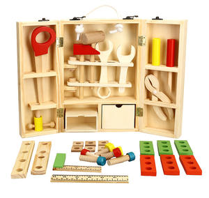 Nuts and Bolts Wooden Building Construction Toy Set Pretend Play Carpenter Wooden Toy Tool Box For Kids