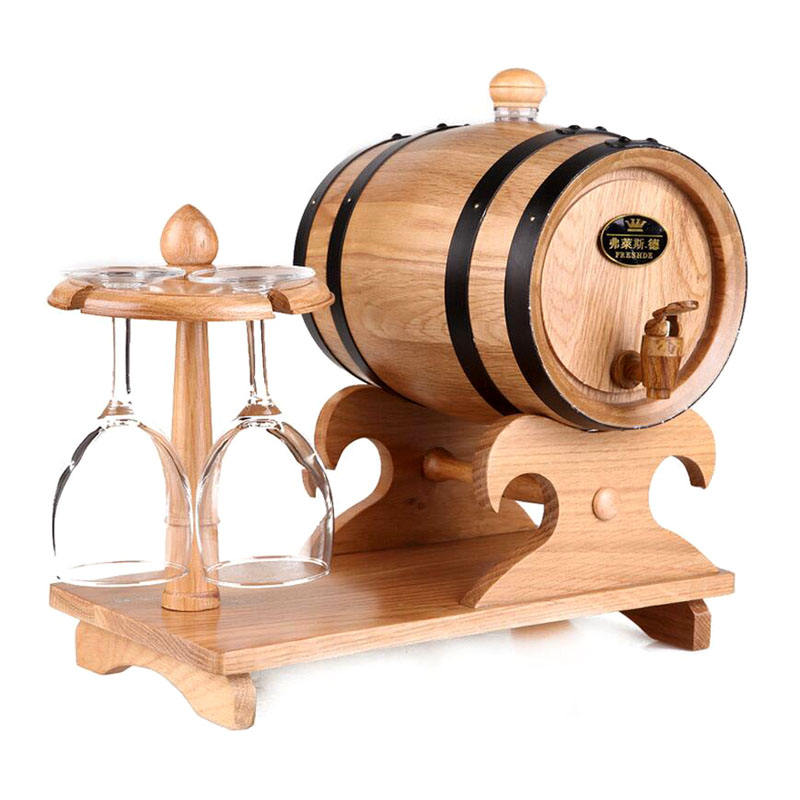 Morden multi-function hot sell handmade oak 5 litre can hang cup wooden wine barrel