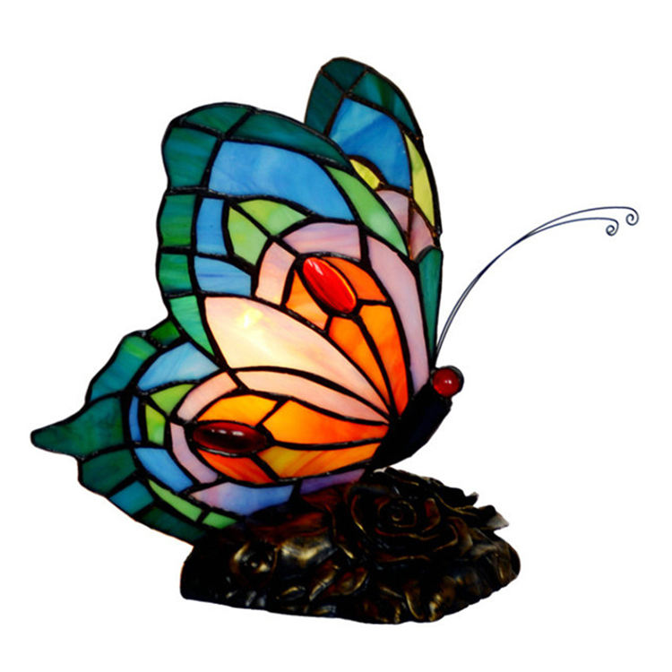 Girl Gifts 8 inch Blue Red Butterfly Tiffany Desk Lamp Table Lamp