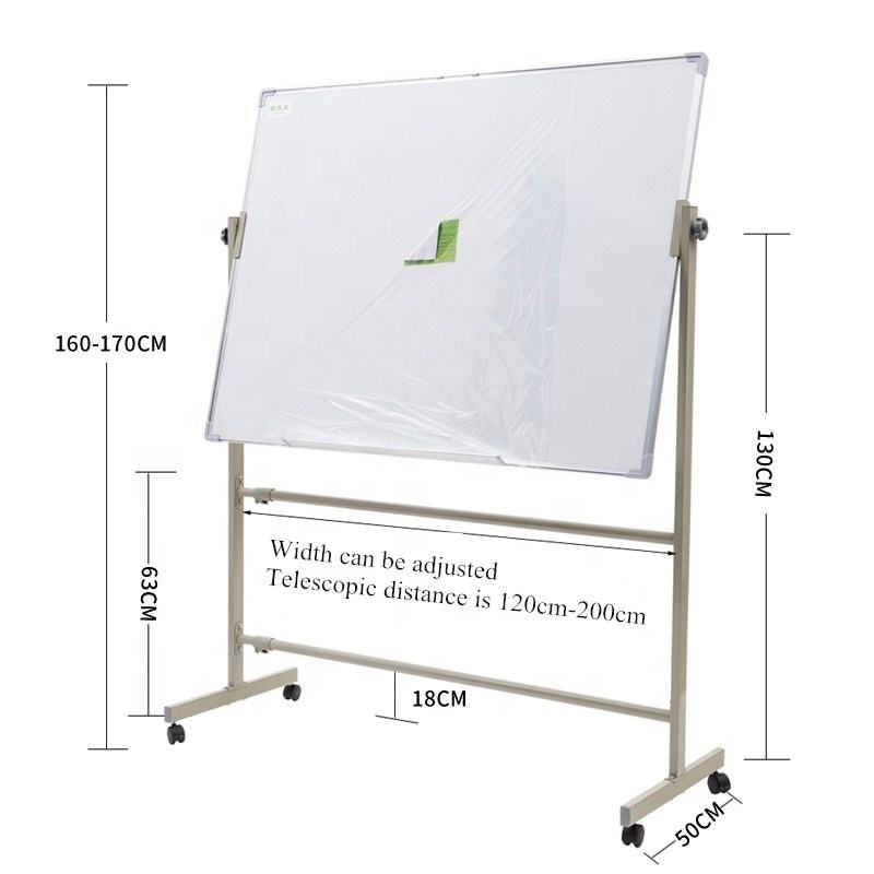 Double side magnetic whiteboard mobile whiteboard with wheels