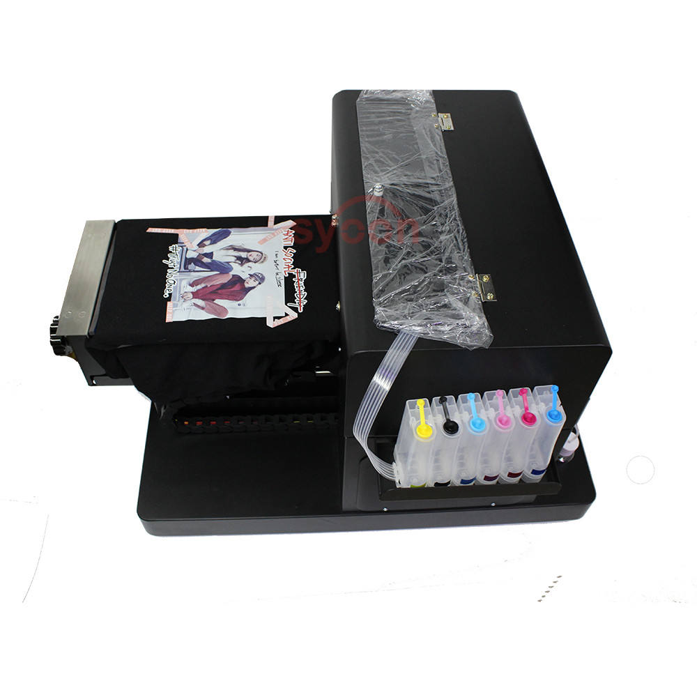 wholesale clothing flatbed printer A4 size printing mens t shirts / cell phones smartphones cover