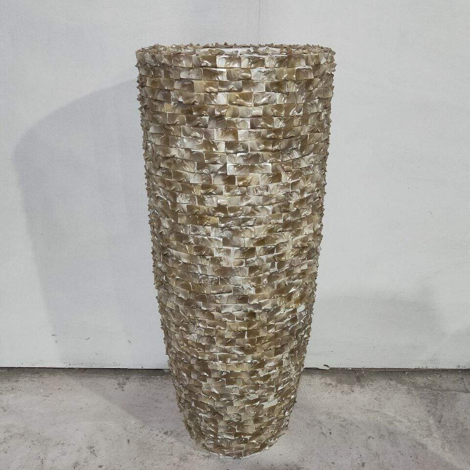 Wholesale Brown Shell Fiberglass Flower Pot Vase