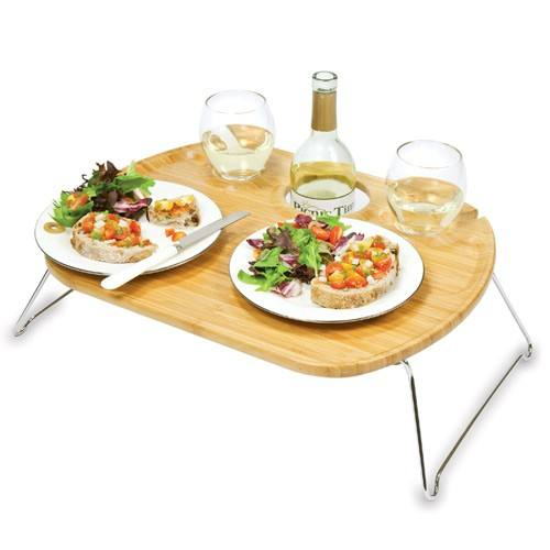 Bamboo Portable Outdoor Wine Snack Table Bamboo Picnic Table