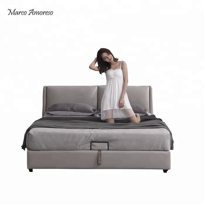 Chine d'importation de meubles <span class=keywords><strong>chambre</strong></span> dernière conception gris roi taille véritable lit en cuir
