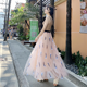 2019 spring and summer embroidered gauze skirt 3 layers anti-light high waist long fairy skirt