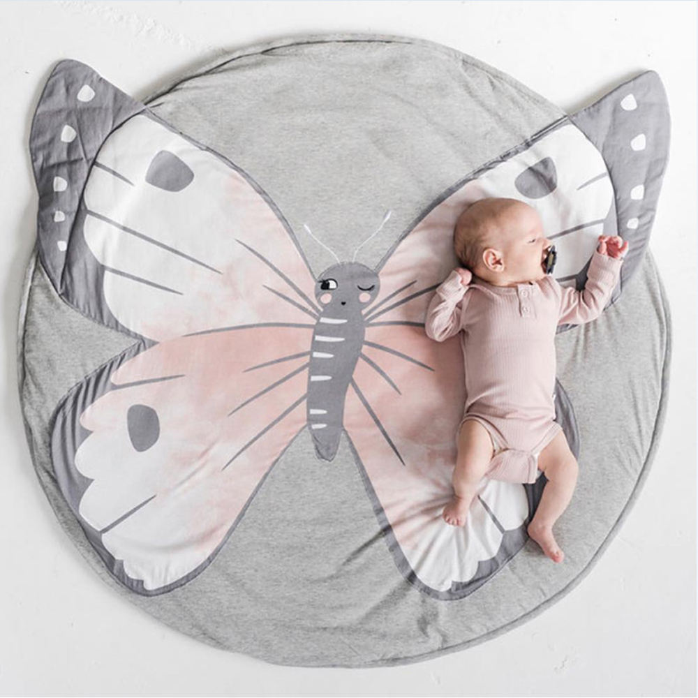 Factory price Infant play mats kids crawling carpet Butterfly design floor rug bedding Blanket baby crawling cotton play mat