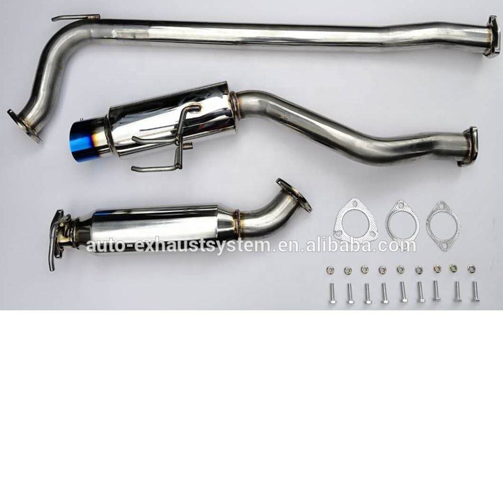 "Fit Civic Weld On 4/"" Slant Burn Tip Carbon Muffler Exhaust 2.5/"" w// Silencer"