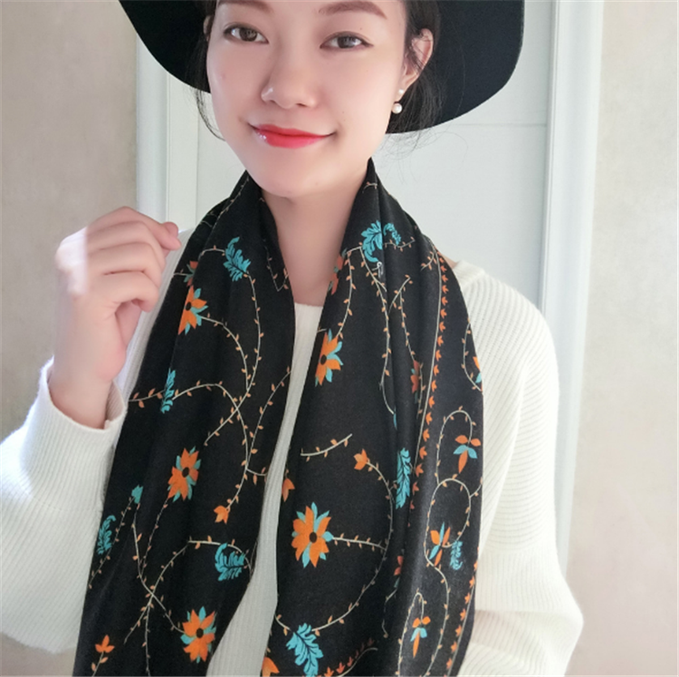 New design fashion Autumn and winter ladies new special art style printed cashmere silk long scarf