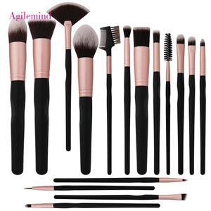 16 pcs Naturel Maquillage Brush Set Blush Make up Brosse Mac Ceinture 2019 Privé Étiquette En Gros