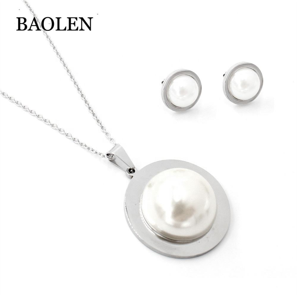 Glamorous silver necklace unique designs freshwater pearl pendant necklace earrings jewelry for women