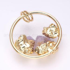 ANDE-P1032 Raw Amethyst Halskette Februar Birthstone Gold Metall Ring Raw Kristall Anhänger