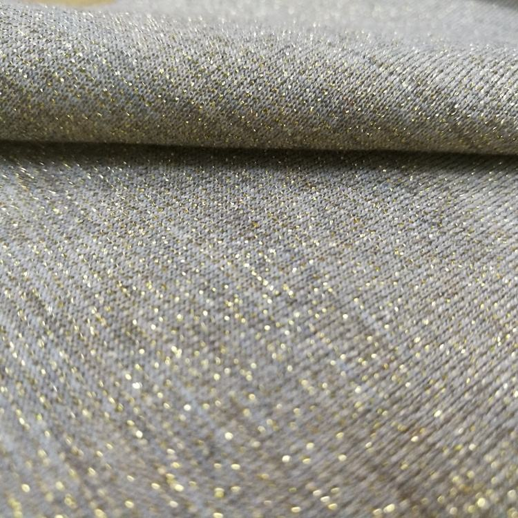 Lurex Fabric Material Spandex Shimmer Lurex Knit Jersey Fabric With Gold Lurex For Garment