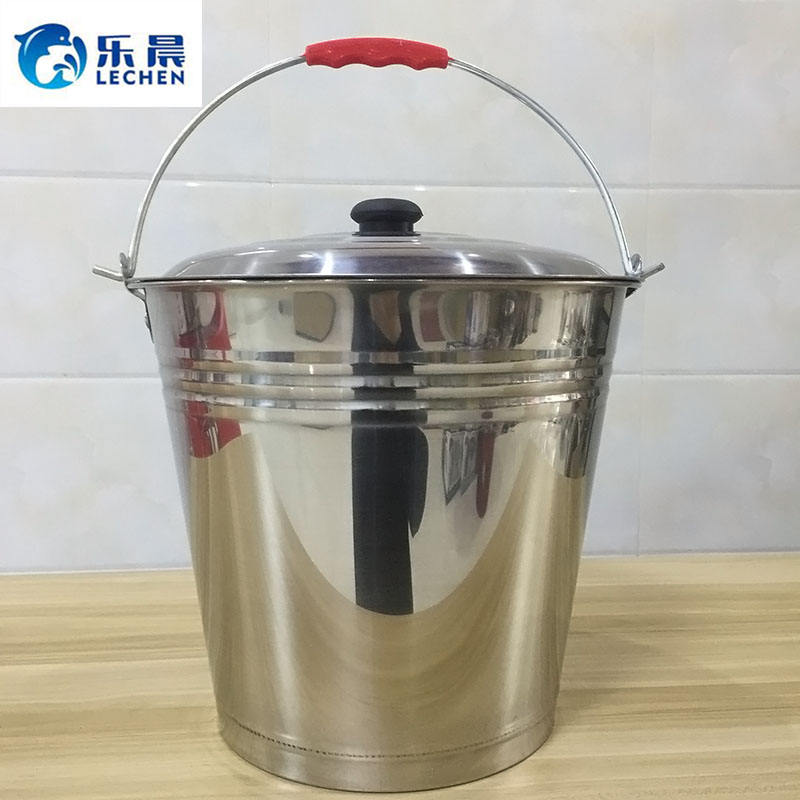 Stainless Steel Ice Bucket Household Mop Bucket Water Bucket with Lid Handle Steel Sheet
