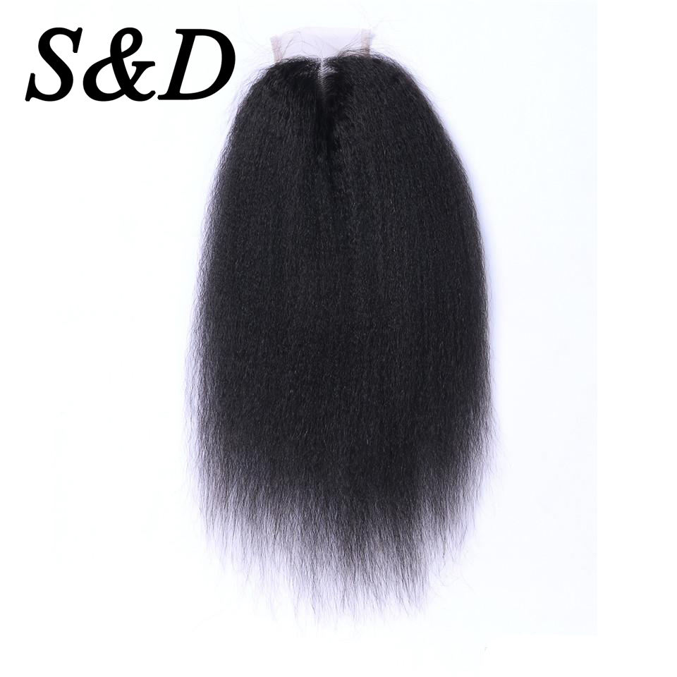Kinky Straight Lace Closure Bleached Knots Brazilian Kinky Straight Human Hair Closure Free Middle 3 Part 100% Human Hair