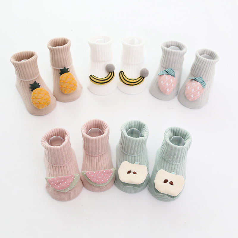 New Design Summer Combed Cotton Cute 3D Fruit Baby Socks Anti Slip Ribbed Cozy Candy Color Infant Socks Thin