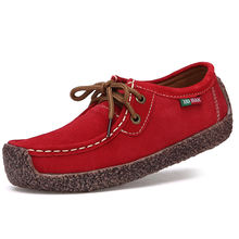New lace-up snail leather women's shoes casual flat female peas shoes large size
