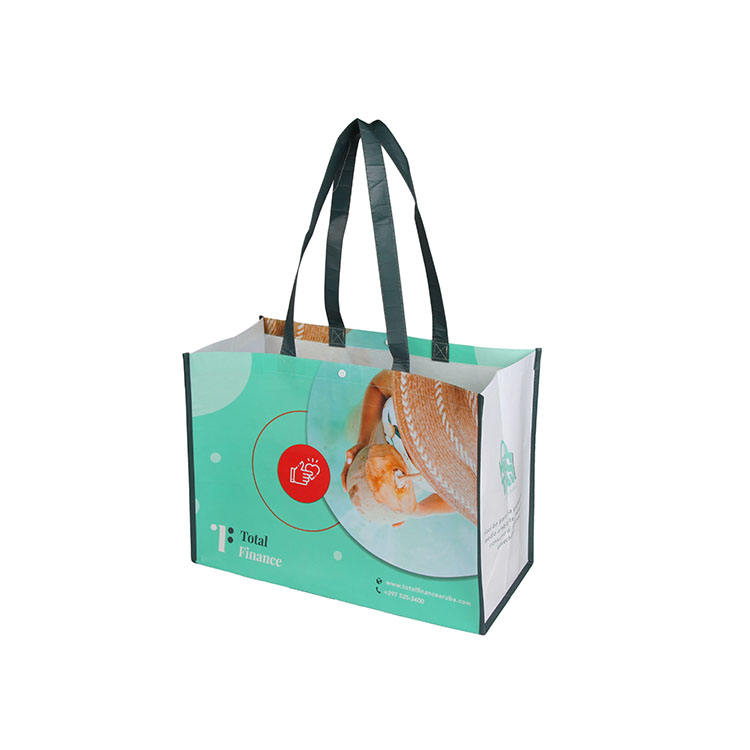 Snap Fastener Custom Supermarket Grocery Laminated Recycled PET Bag