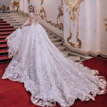 Dubai Ball Gown Lace Beaded Luxury Wedding Dress Bridal Gown
