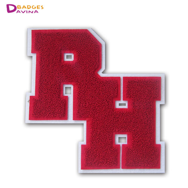 Soft wholesale custom chenille embroidery patches cheap custom chenille letters