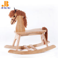 JIABAO Trojan Hobbyhorse Solid Wood Rocking Horse for Kids Hand Polished Furniture