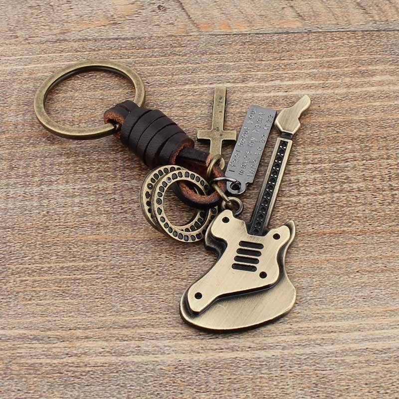 High quality Leather cartoon guitar vintage keychain with logo metal promotional gift key chain