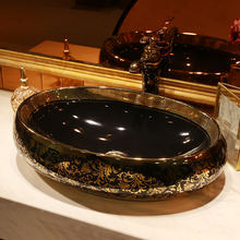 Golden pattern Handmade China Lavabo Washbasin bathroom sink bowl countertop oval Shape Ceramic wash basin black bathroom sink