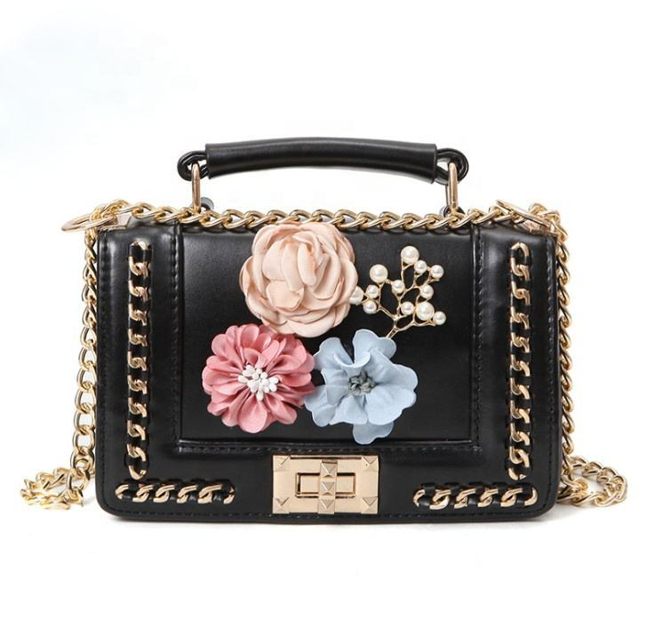 New Fashion Beach Beading Pearl Flower Branded Evening Shoulder Bag Leather 2020 Mini Luxury Designers Purses Handbags for Women