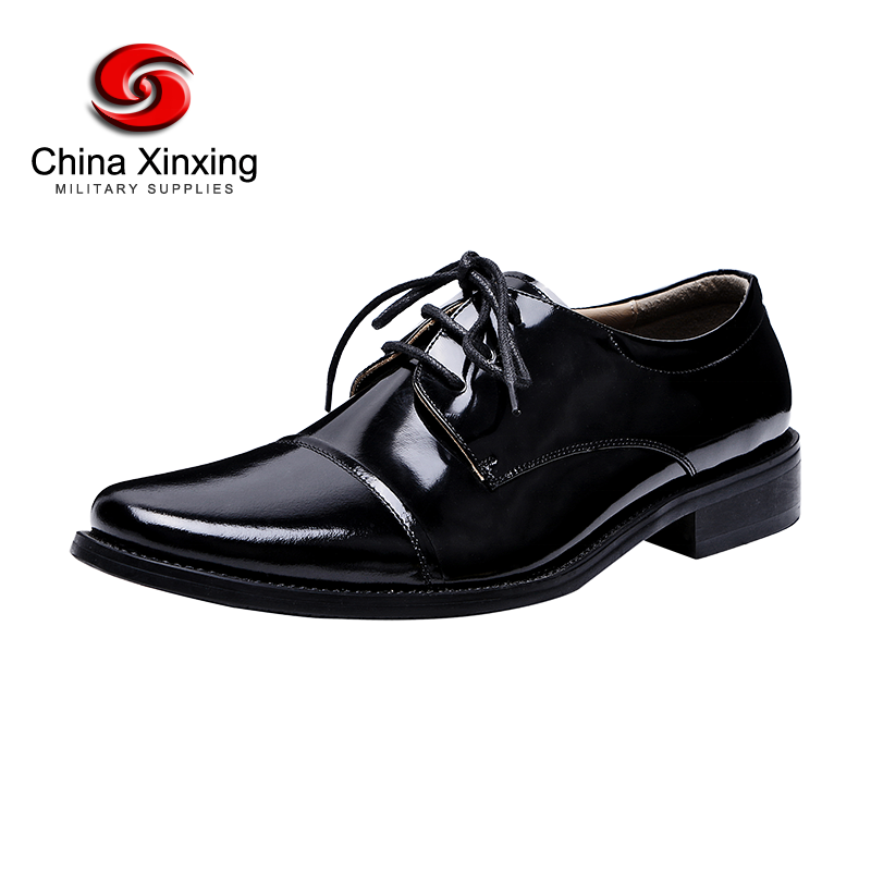 Xinxing Military Leather Shoes with Rubber Leather Outsole Men's Dress Formal Shoes for Police Army Officer LS04