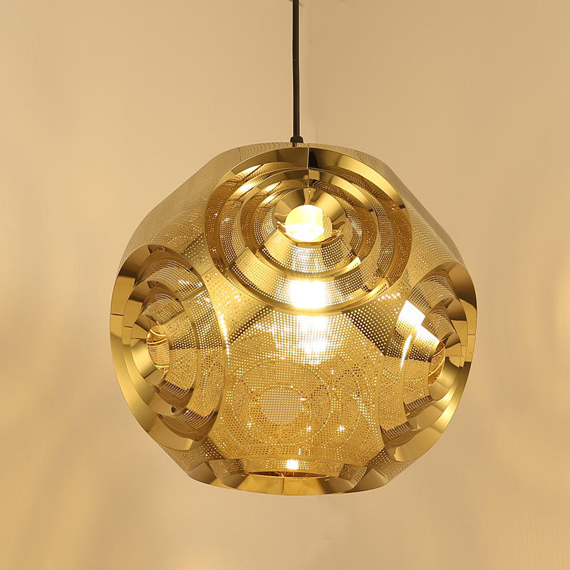 Stainless Steel Pendant lamp with vertical ornamental engraving for home decoration or hotel