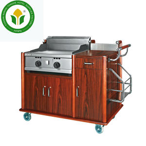 Hotel 5 star equipment cherry red wooden flambe cooking trolley