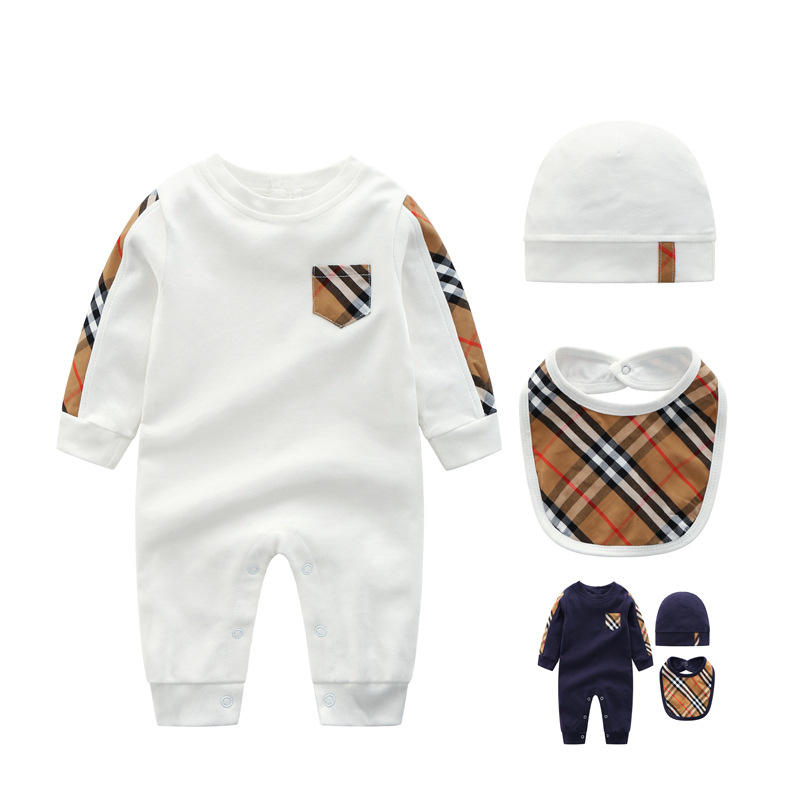 high quality cotton baby boy smock romper with hat and short sleeve