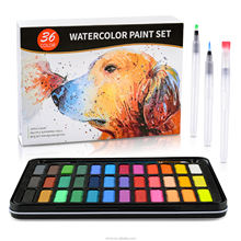 Amazon Hot Selling  36colors Solid Watercolor Paint Set With 8pcs 300G Watercolor Pad There Water Brush Pens